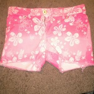 Sophomore Pants - Neon pink floral shorts