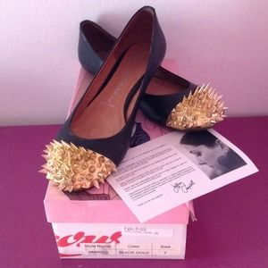 Jeffrey Campbell Gold Spike Margo Flats