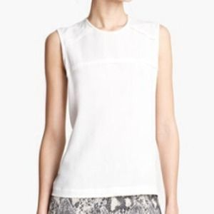 Yigal Azrouel Crepe Georgette white Blouse 12 NWT