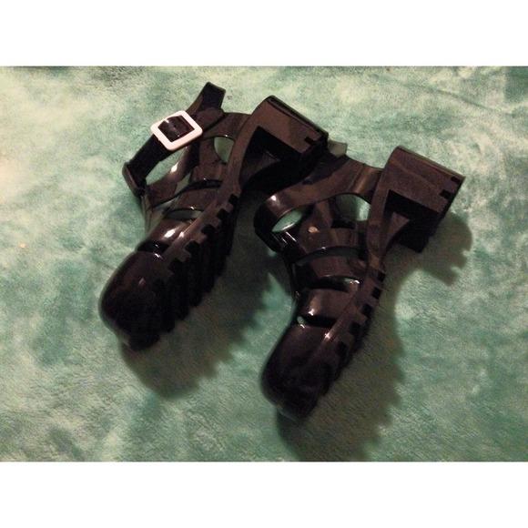 99927e245b2a SODA RANEE-S Black PVC JELLY HEEL SANDALS. M 53e17c153005273a802dd2b6