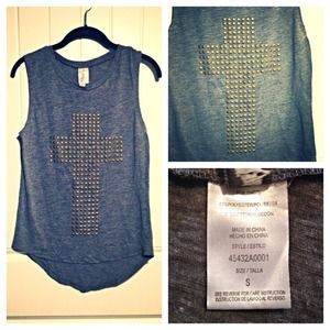 Tops - Gray and Gold Studded Cross Tank