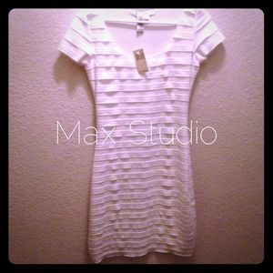 Max Studio little white dress sexy fitted bodycon