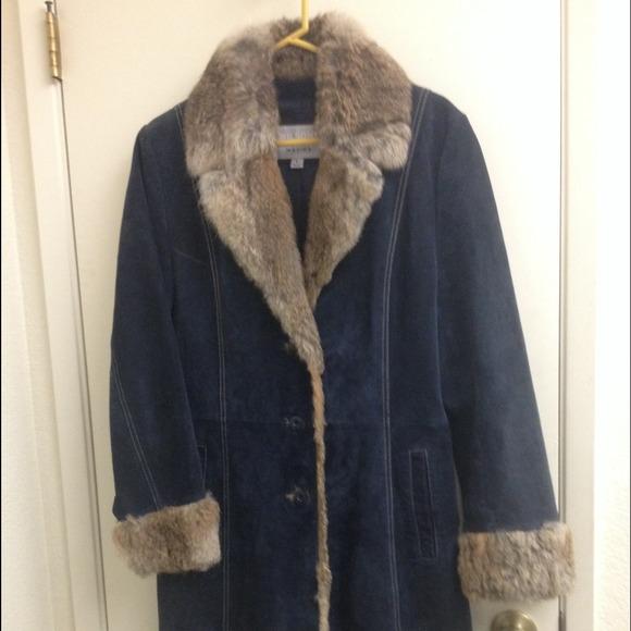 7e2fcc0b8 Blue Leather And Fur Wilson's Leather Maxima Coat