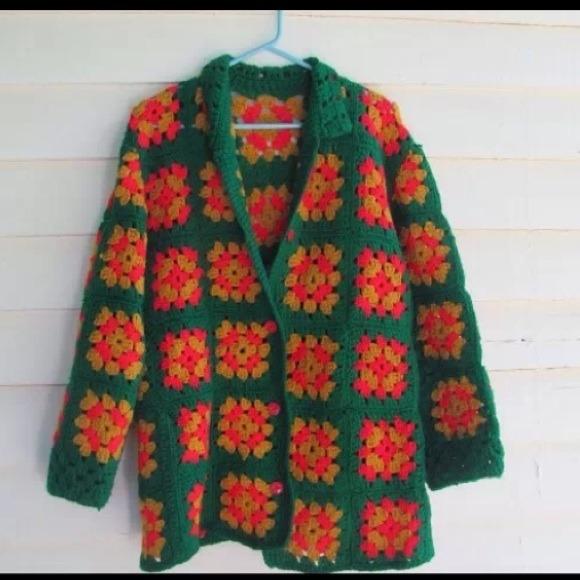 Vintage Hippie Granny Square Hand Crochet Cardigan