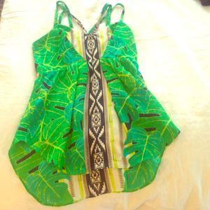 Palm leaf silk top