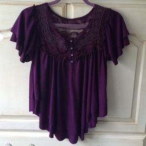 Free People Purple Babydoll Top w/ Lace Detail