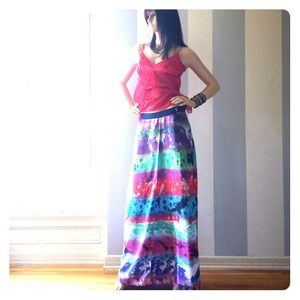 Walter Baker maxi skirt shown with Bebe top