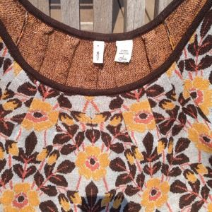 Anthropologie Tops - Yellow Brown flower Floral Short Sleeve Sweater S