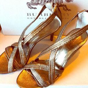NEW Burberry metallic bronze amber sandal heels!