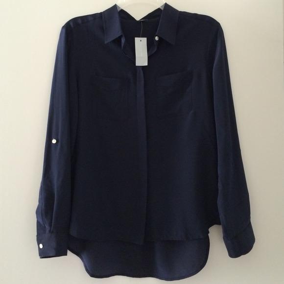 fd6e363826d3c Ann Taylor Petite Silk Camp Shirt in Navy