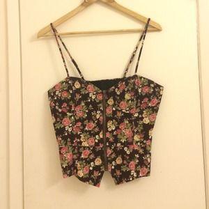 Corduroy floral corset