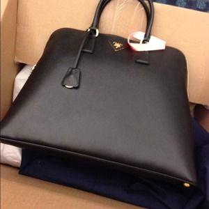 Black Prada saffiano bag on Poshmark