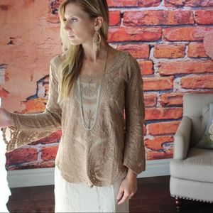 Mocha lace embroidered tunic