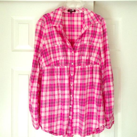 66% off Express Tops - Express pink light weight flannel shirt ...