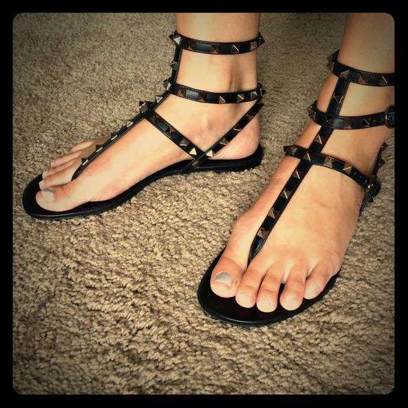 fa87ba59e Valentino rockstud black noir sandals 39
