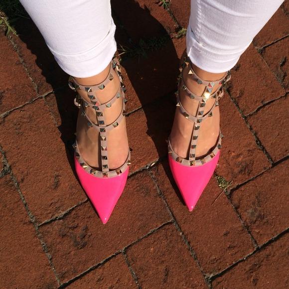 valentino rockstud shoes pink
