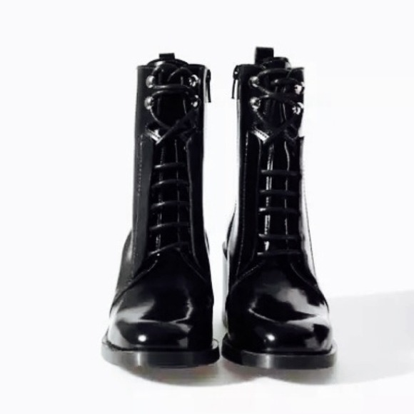 55 Off Zara Shoes Zara Patent Leather Combat Boot From