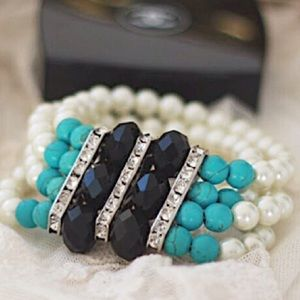 4 strand Pearls with black & turquoise beads