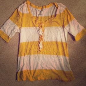 Yellow white striped top