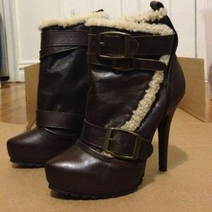 Shearling and Leather Platform Ankle Boots.