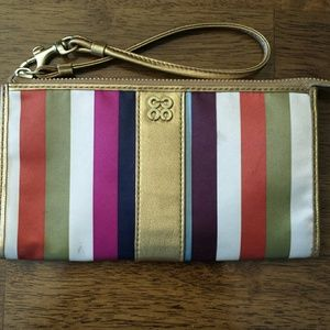 Coach Legacy stripe zippy wallet