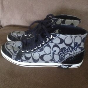 Black high top Coach sneakers price negotiable