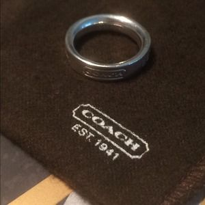 Authentic Coach Sterling Silver Ring- Size 6.5