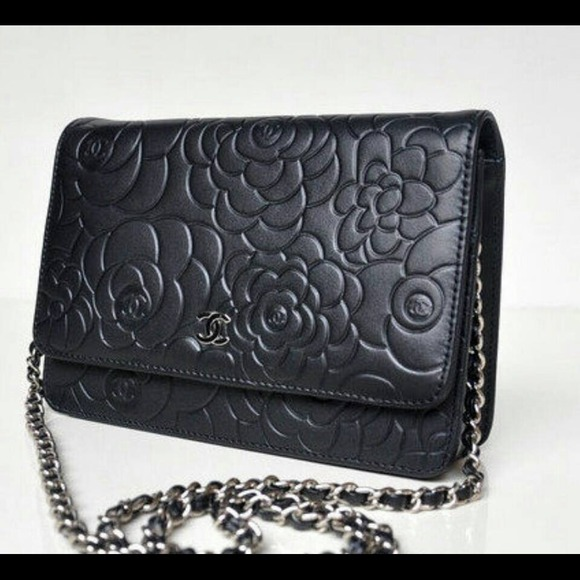 161da8b57c8204 CHANEL Bags | Black Camellia Pattern Wallet On Chain Woc | Poshmark