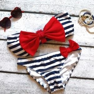 Other - Sailor stripe cheeky bikini with red bow ⚓️❤️