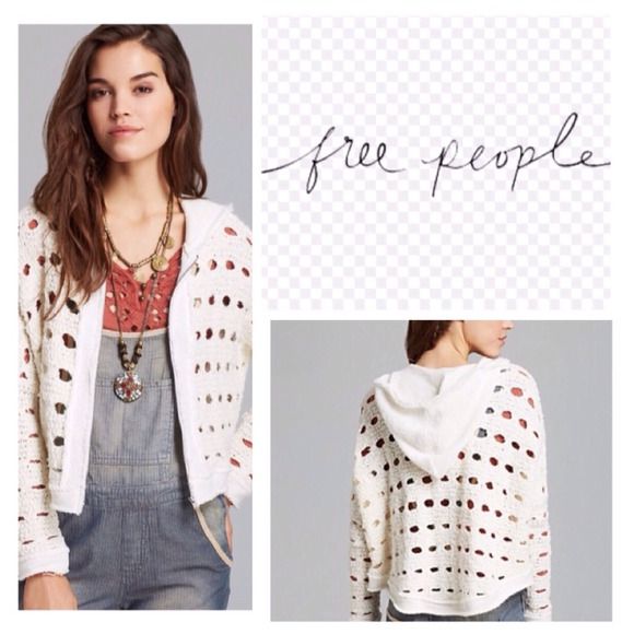 Free People Sweaters Ivory Hooded Open Knit Cardigan Nwt Poshmark