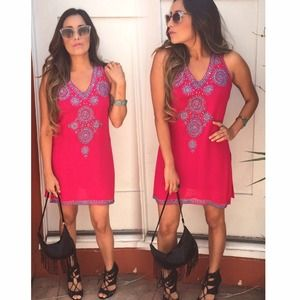 Tops - Pink beaded /mirrored Tunic Top