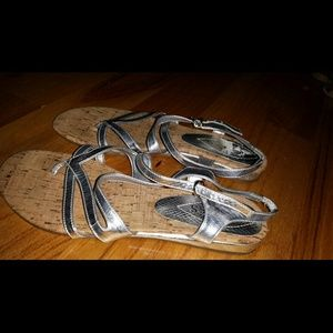 Silver Strappy Sandal with Corkboard sole