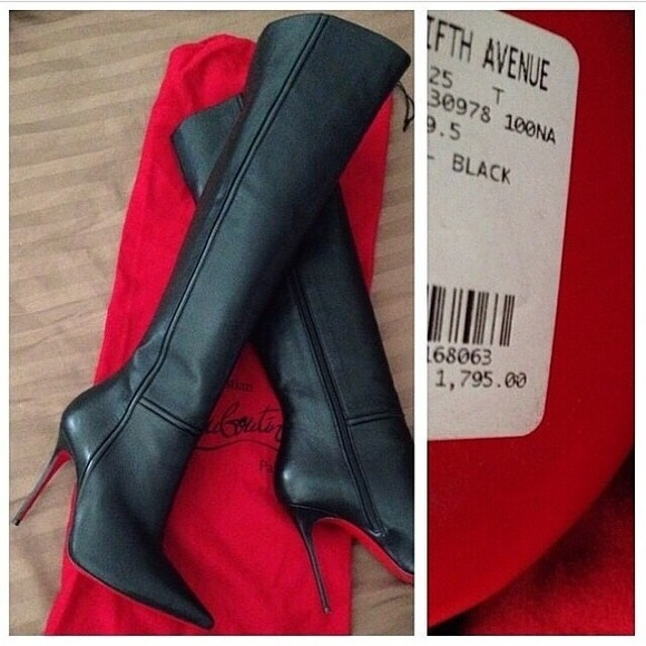 men shoes with heels christian louboutin over the knee black boots