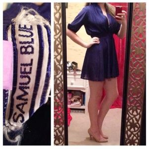 Vintage Blue/Purple 3/4 Sleeve Dress