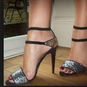 ZARA Glitter Heels w/ Double Ankle Strap