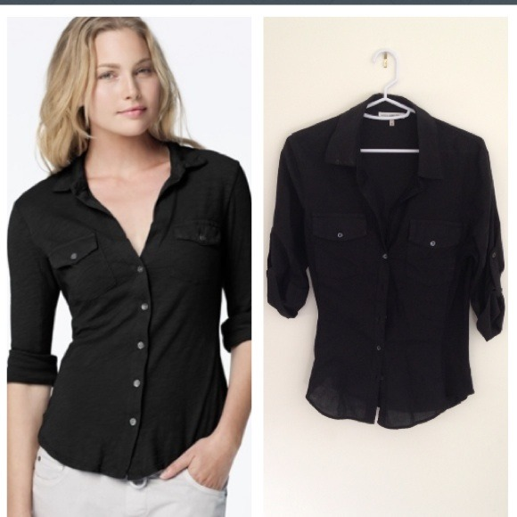 b2551931b James Perse Tops - James Perse black button down side panel shirt