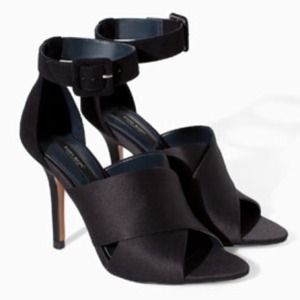 ZARA Satin Heels with Ankle Strap