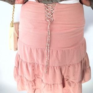 Pink Corduroy Corseted Ruffled Skirt
