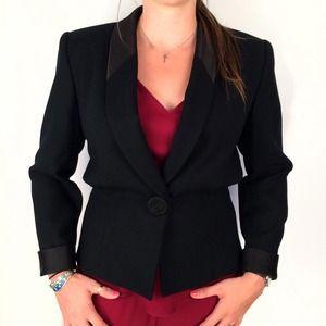 Kasper Jackets & Coats - Black Blazer w/Tuxedo Trim - Feminine Cut