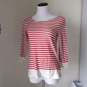 J. Crew striped red-and-white boat neck tee
