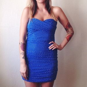 bebe Dresses & Skirts - Vibrant Blue Mesh Bebe Dress w/Silver Studs