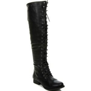 Over the knee side zip lace up boots