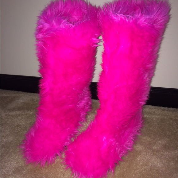 80 Off Boots Hot Pink Furry Boots 💗 From Ashley S