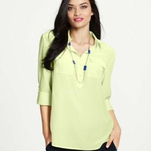 Ann Taylor Silk Neon Lime Green Camp Popover Top