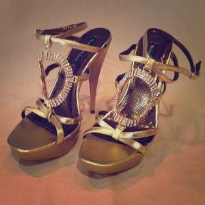 Strappy Gold and Rhinestone Heels.