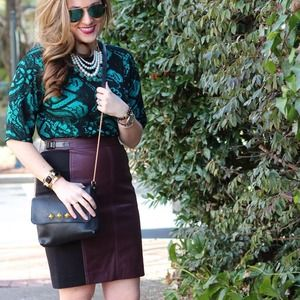 Ann Taylor Burgundy Black Leather Pencil Skirt