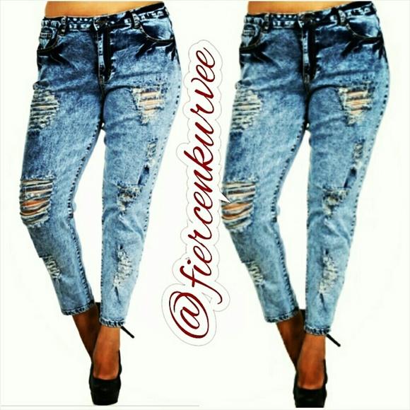 destroyed jeans plus size - Jean Yu Beauty