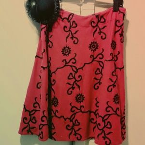 Vintage Betsy Johnson red/blk flair skirt