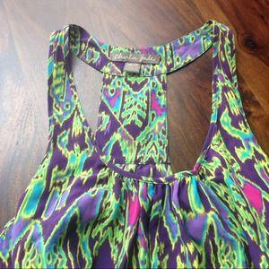 Charlie Jade Tribal Print Silk Dress (XS)