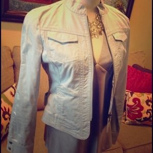 CAbi light blue jacket with zip front.